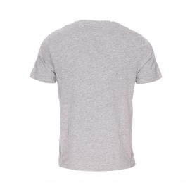Tee-shirt col rond Original Penguin en coton et viscose gris chiné floqué en feutrine noire
