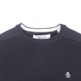 Pull col rond Original Penguin en coton noir brodé