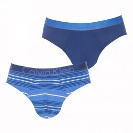 Lot de 2 slips Calvin Klein en coton stretch à rayures bleu marine, bleu indigo et grises et uni bleu marine