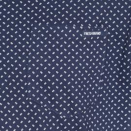 Polo The Fresh brand bleu marine à petits tirets blancs