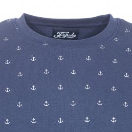 Sweat col rond The Fresh brand bleu marine à imprimés ancres marines blanches