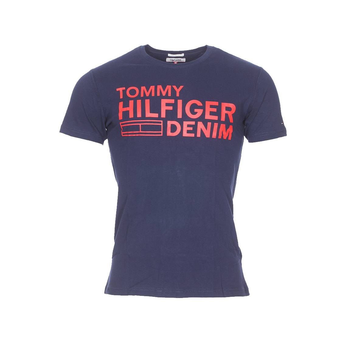 tee shirt hilfiger denim bleu marine floqu en rouge rue. Black Bedroom Furniture Sets. Home Design Ideas