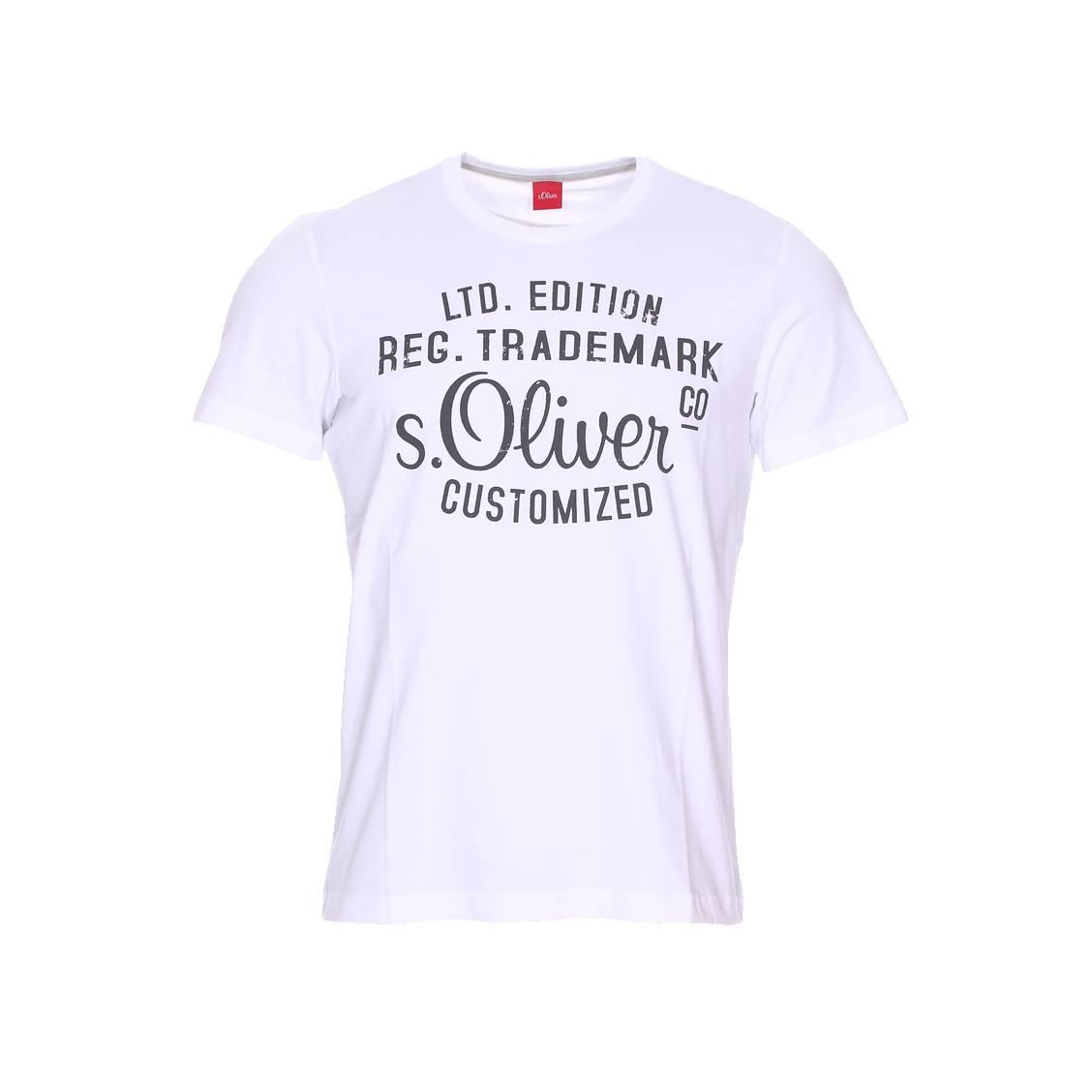 Tee-shirt col rond  en coton blanc floqué