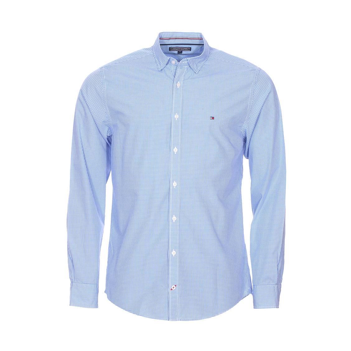 chemise ajust e tommy hilfiger en coton carreaux vichy bleu ciel et blancs rue des hommes. Black Bedroom Furniture Sets. Home Design Ideas