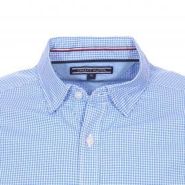 Chemise ajustée Tommy Hilfiger en coton à carreaux vichy bleu ciel et blancs