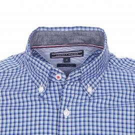 Chemise ajustée Tommy Hilfiger en coton à carreaux bleus et blancs