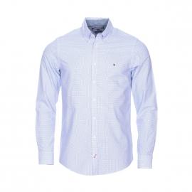 Chemise cintrée Tommy Hilfiger en coton blanc à petits pois bleus