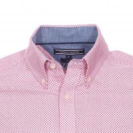 Chemise manches courtes cintrée Tommy Hilfiger en coton blanc à petits pois rouges