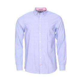 Chemise cintrée Tommy Hilfiger en coton fil à fil bleu à pois blanc