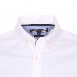 Chemise manches courtes ajustée Tommy Hilfiger en coton stretch blanc