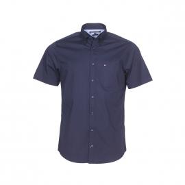 Chemise manches courtes ajustée Tommy Hilfiger en coton stretch bleu marine