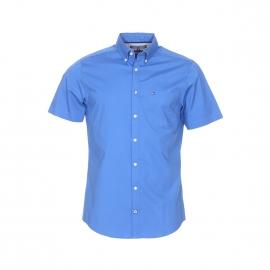 Chemise manches courtes ajustée Tommy Hilfiger en coton stretch bleu azur