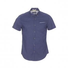 Chemise manches courtes ajustée Carne Teddy Smith en coton bleu marine à motifs géométriques