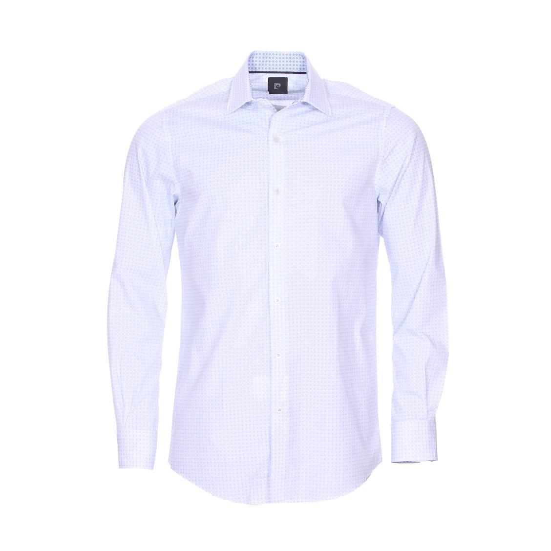 Chemise ajustée  en coton blanc à motifs bleu ciel