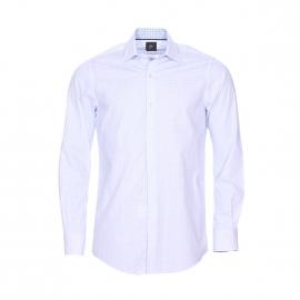 Chemise ajustée Pierre Cardin en coton blanc à motifs bleu ciel