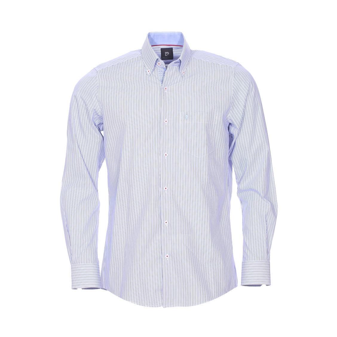 Chemise ajustée  en coton à rayures bleues et blanches