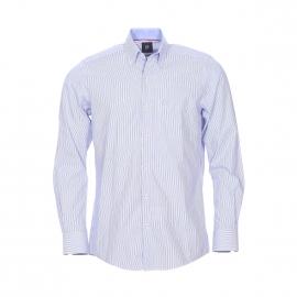 Chemise ajustée Pierre Cardin en coton à rayures bleues et blanches