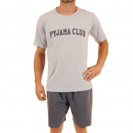 Pyjama court Venturi Christian Cane en coton : tee-shirt col rond gris clair brodé