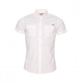 Chemise manches courtes cintrée Kaporal en coton mélangé blanc floqué dans le dos