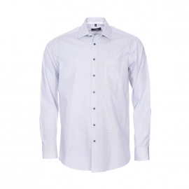 Chemise droite Modern Seidensticker en coton blanc à motifs losanges bleu marine sans repassage