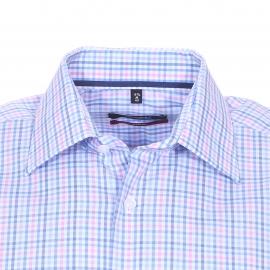 Chemise droite manches courtes Modern Seidensticker en coton à carreaux roses, bleus et blancs, sans repassage
