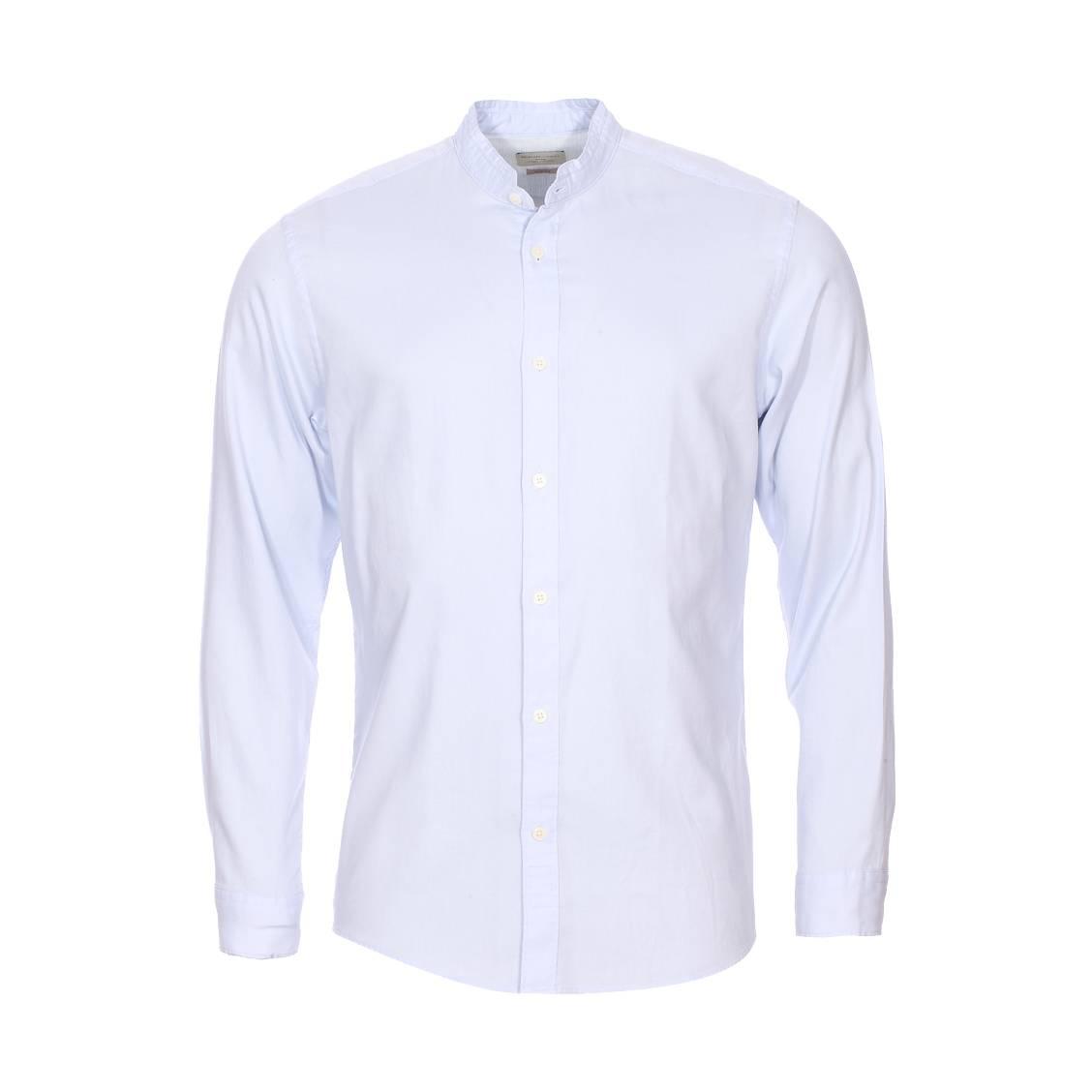 Chemise cintrée  en coton bleu à col mao