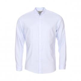 Chemise cintrée Selected en coton bleu à col mao