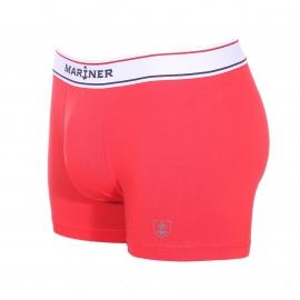 Boxer Mariner en coton peigné stretch rouge à ceinture élastiquée blanche brodée