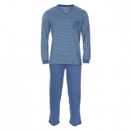 Pyjama long Mariner en jersey de coton mercerisé : tee-shirt manches longues col V bleu indigo à rayures jaunes et bleu ciel, pantalon bleu indigo