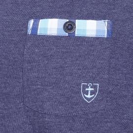 Pyjama court Mariner bi-matière : tee-shirt col tunisien en jersey de coton bleu jean, bermuda en popeline de coton à carreaux bleus et blancs