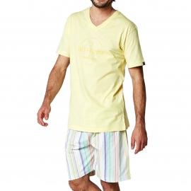 Pyjama court Arthur Paul : tee-shirt col V jaune pâle et bermuda à rayures multicolores pastel