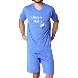 Pyjama court Arthur : tee-shirt col V bleu océan