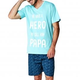 Pyjama court Arthur : tee-shirt col V turquoise imprimé