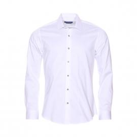 Chemise cintrée Méadrine en coton blanc à petit col évasé et boutons argentées