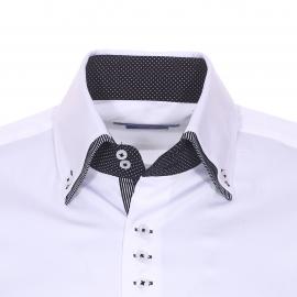Chemise cintrée Méadrine en coton blanc à double col américain : 1 col blanc et 1 col noir à rayures blanches