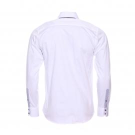 Chemise cintrée Méadrine en coton blanc à double col américain : 1 col blanc et 1 col gris anthracite