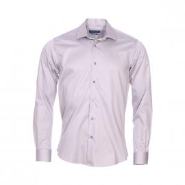 Chemise cintrée Méadrine en coton gris à petit col évasé et boutons argentées