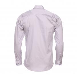 Chemise cintrée Méadrine en coton gris, col à opposition à carreaux blancs, noirs et gris