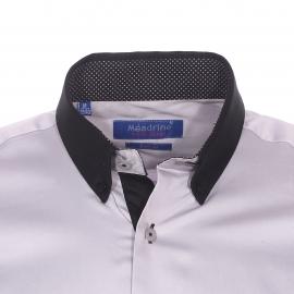 Chemise cintrée Méadrine en coton gris à col américain noir