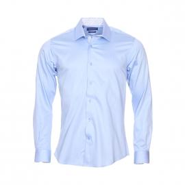 Chemise cintrée Méadrine en coton bleu ciel, col à opposition blanche à imprimé cachemire et pois