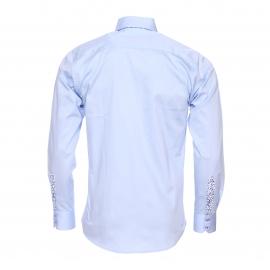 Chemise cintrée Méadrine en coton bleu ciel à double col américain : 1 col bleu ciel et 1 col bleu marine à motifs bleus
