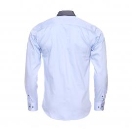 Chemise cintrée Méadrine en coton bleu ciel à double col américain : 1 col gris anthracite et 1 col bleu marine à pois