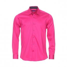 Chemise cintrée Méadrine en coton rose fuchsia, col à opposition bleu marine à motifs