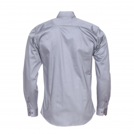 Chemise cintrée Méadrine en coton gris, col à opposition noire à motifs multicolores