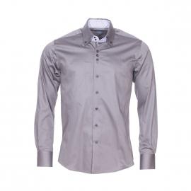 Chemise cintrée Méadrine en coton gris souris à double col américain : 1 col gris anthracite et 1 col à rayures noires et blanches