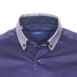 Chemise cintrée Méadrine en coton bleu marine à double col américain : 1 col gris et 1 col bleu marine à pois