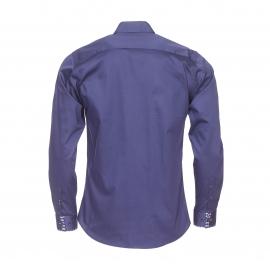 Chemise cintrée Méadrine en coton bleu marine, col à opposition à carreaux bleus et marron