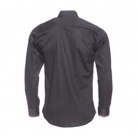 Chemise cintrée Méadrine en coton noir, col à opposition à motifs rouges et blancs