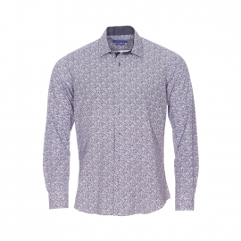 Chemise cintrée Méadrine en coton blanc à fleurs bleues, rouges et grises
