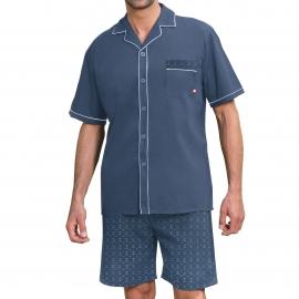 Pyjama court Dodo : Veste boutonnée bleu marine et short bleu marine à imprimés cannes de golf